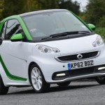 Front view of UK Smart Electric Drive cornering